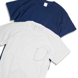 feel so easy/WEST SHORE ウエストショア DAMEGE Tシャツ メンズ/レディース ホワイト/ネイビー M-L