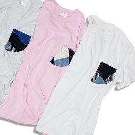 feel so easy/WEST SHORE ウエストショア FIN POCKET TEE 3カラー Tシャツ 半袖 メンズ レディース ユニセックス ホワイト ピンク サーフ フィン デニム パッチワーク