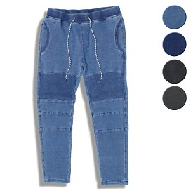 feel so easy/WEST SHORE ウエストショア Indigo Stretch Sweat Knee-pad Pants 4カラー パンツ スウェットデニム デニム スウェット バイカーパンツ スエット インディゴ ブルー ブラック グレー メンズ レディース