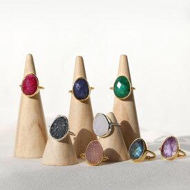 シルバー925 リング 指輪 [juli] 天然石リング シルバーリング ゴールド 天然石 フリーサイズ ドゥルージー カットストーン Jewelry レディース アクセサリー 女性 大人 彼女 誕生日 プレゼント 送料無料