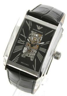 엠포리오 아르마니 メカニコ 오토매틱 가죽 블랙 남자 AR4224 시계 시계