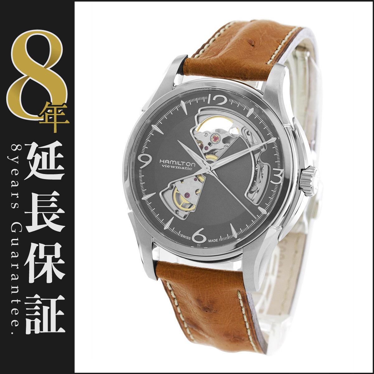 ハミルトン ジャズマスター ビューマチック オープンハート オーストリッチレザー 腕時計 メンズ HAMILTON H32565585_8