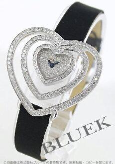 ショパールハート WG pure gold satin leather black / diamond Lady's 13/7096-20 watch clock