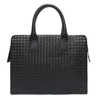 ボッテガヴェネタ BOTTEGA VENETA calf-leather business bag black 194669