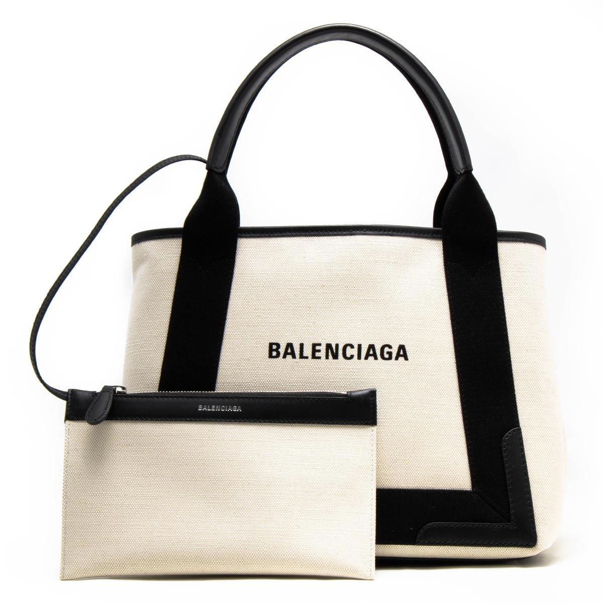 バレンシアガ トートバッグ バッグ レディース ネイビーカバス S ナチュラル&ブラック 339933 AQ38N 1081 BALENCIAGA バーゲン ギフト プレゼント