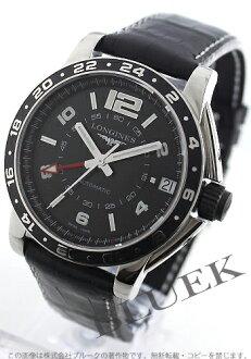 Longines Admiral automatic GMT alligator leather black mens L3.668.4.56.2