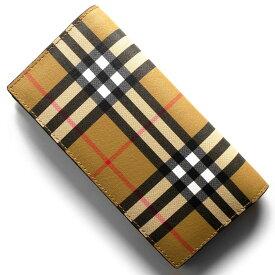 43dd16f637d9 バーバリー 長財布 財布 メンズ レディース キャベンディッシュ ヴィンテージチェック アンティークイエローベージュ&ブラック