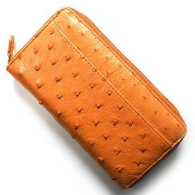 本革 長財布 財布 メンズ レディース オーストリッチ OSTRICH オレンジ OKN1824H OR Leather
