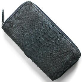 a1ae93e7d057 本革 長財布 財布 メンズ レディース パイソン PYTHON アイリスブルー OKU6754 NV Leather
