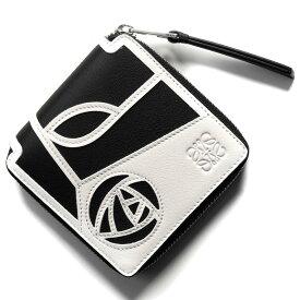 4b8beacbf9e5 ロエベ 二つ折り財布 財布 レディース パズル スクエア バラ ホワイト&ブラック 124 XM88 N30 2101