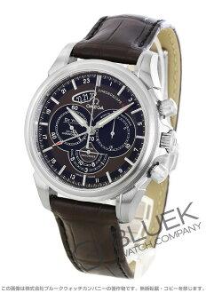 Leather dark brown & black men 422.13.44.52.13.001 automatic in オメガデビルコーアクシャルクロノスコープ GMT