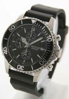 섹터 200 크로노그래프 러버 블랙 맨즈 B1. 200 C. 125 손목시계 시계