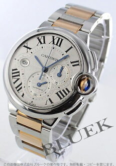 Xmas sale ★ Cartier baron blue LM PG combination automatic chronograph silver men W6920063