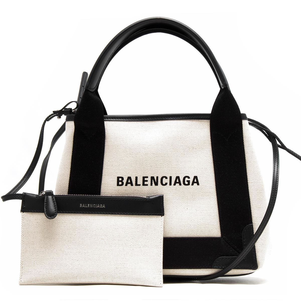 バレンシアガ トートバッグ バッグ レディース ネイビーカバス XS ブラック&ナチュラル 390346 AQ38N 1081 BALENCIAGA バーゲン