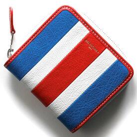 バレンシアガ 二つ折り財布 財布 レディース バザール ブルー&ブランホワイト&ルージュレッド 443657 DE9CN 4360 BALENCIAGA
