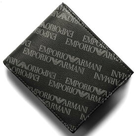 エンポリオアルマーニ 二つ折り財布 財布 メンズ イーグルマーク ボードグレー&ブラック Y4R167 YLO7E 86526 EMPORIO ARMANI