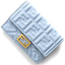 フェンディ 二つ折り財布 財布 レディース バゲット ズッカ プラァシィドゥブルー&オーロソフト 8M0419 AAJD F1CCB 2021年春夏新作 FENDI