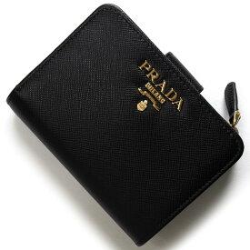 d11542d10c77 プラダ 二つ折り財布 財布 レディース サフィアーノ メタル ブラック 1ML018 QWA F0002 PRADA