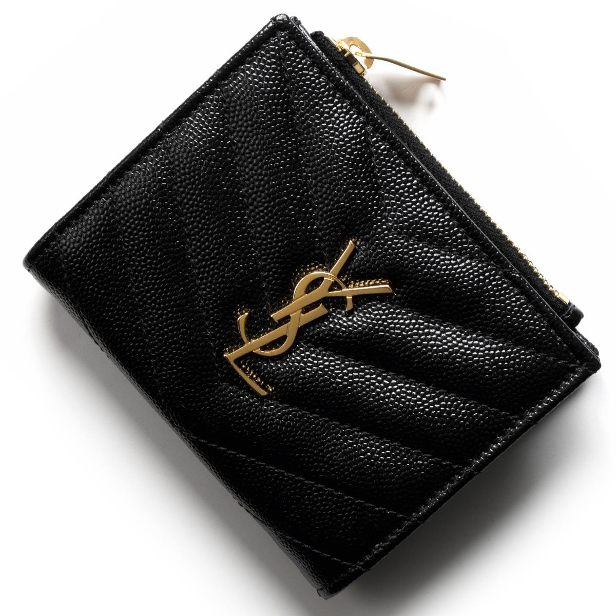 サンローランパリ イヴサンローラン 財布 二つ折り財布 財布 レディース モノグラム YSL ブラック 517045 BOW01 1000 SAINT LAURENT PARIS バーゲン