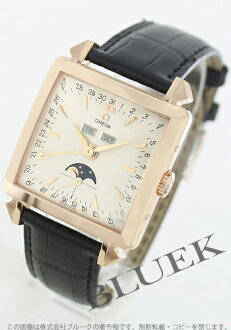 5756.30.01 omega devil RG pure gold automatic moon phase leather black / silver men