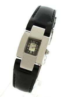 Chaumet cases enamel leather black/grey & silver ladies W08210-038 watch clock