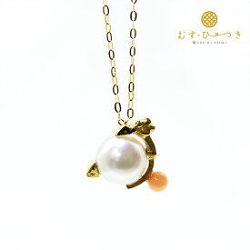 【ラッキーアニマル】 招き猫 ネコ 珊瑚 あこや真珠 ネックレス 7.5-8mm K10 K18【送料無料】【RCP】【コンビニ受取対応商品】