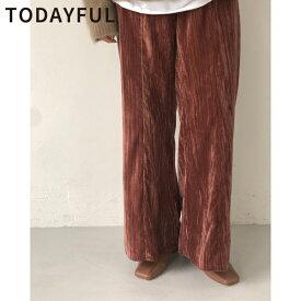 【SALE】【セール】【50%OFF】TODAYFUL トゥデイフル LIFE's ライフズVelour Pleats Pants ベロアプリーツパンツ 11920724【あす楽】【送料無料】