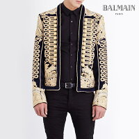 【正規】BALMAIN HOMME(バルマンオム)RUNWAY SHOW EMBELLISHED GOLD SPENCER JACKET ゴールド スペンサー ナポレオンジャケット(62.T765.D665B/190)44Rope-embroidered velvet napoleon jacket