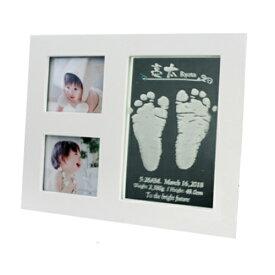 3窓足型フォトフレーム HIKARI(ひかり)足型なし*6月中旬以降のお届けになります出産 プレゼント 結婚 贈り物  名入れ 送料無料 ブライダル ウェディング 記念品 彫刻 刻印 手形 足型