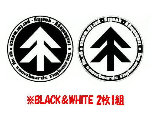 【スノーステッカー】GRAY snowboards(グレイ)STICKER Engineering(スクリーン印刷)BLACK&WHITE 2枚セット SIZE:W120×H120mm 【350】