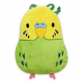 セキセイインコ 緑 グリーン ぬいぐるみのような巾着ポーチ 鳥シリーズ 化粧ポーチ 小物入れ 小鳥グッズ 小鳥雑貨 鳥好きさん トリ とり 送料無料