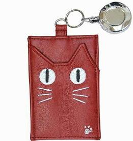 ノアファミリー 目が光ってかわいい! ネコの蓄光パスケース 定期入れ (リール付き) レッド 送料無料