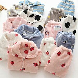 キッズ ルームウエア もこもこ 秋冬 パジャマ男の子 女の子 子供 キッズ 110 120 130 140 150 前開き 上下セット 暖かい ふわふわ 可愛い かわいい 部屋着 着る毛布 フルーツ柄 動物柄 ギフト
