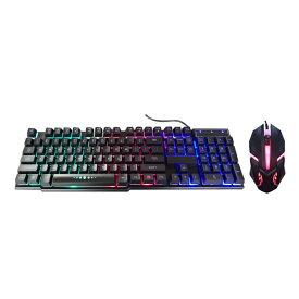 ネオンキーボード&マウスセット 光る バックライト パソコン ゲーム ゲーミング テレワーク パソコン GAME PC パソコン周辺機器 ライトアップ