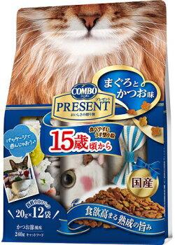 【日本ペット】コンボ キャット プレゼント ドライ 15歳頃から まぐろとかつお味 240gx12個(ケース販売)