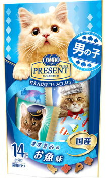 【日本ペット】コンボ プレゼント キャット おやつ 男の子 お魚味 3gx14袋x30個(ケース販売)