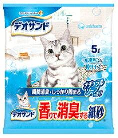 【ユニチャーム】デオサンド 香りで消臭する紙砂 ナチュラルソープの香り 5Lx6個(ケース販売)