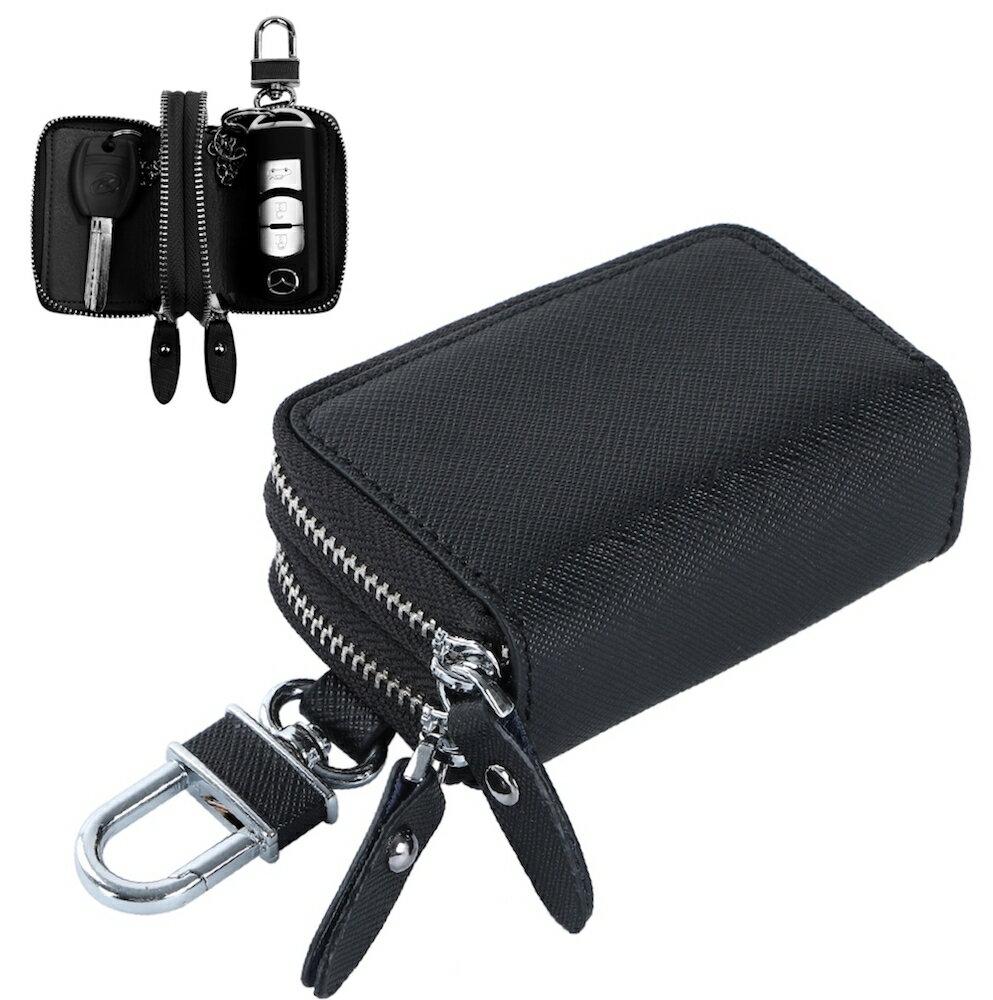 【送料無料】hanano ダブル ポケット レザー スマート キーケース 2つの鍵が収納 牛革 6カラー