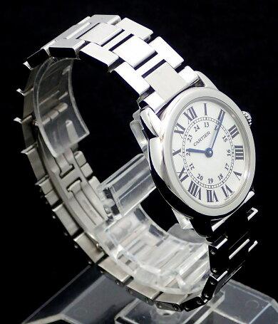 【ウォッチ】【新品仕上げ済】CartierカルティエロンドソロトゥカルティエウォッチSMSSシルバー文字盤レディースQZクォーツ腕時計W6701004【中古】【k】【Blumin楽天市場店】