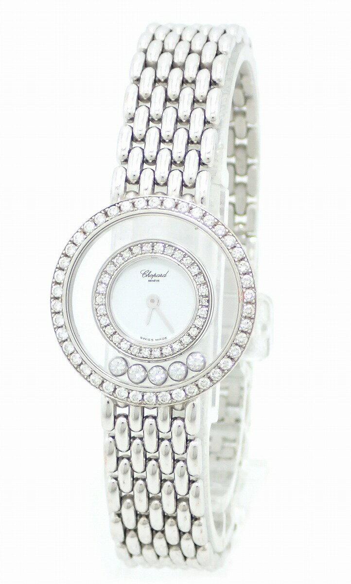 【ウォッチ】【OH・新品仕上げ済】Chopard ショパール ハッピーダイヤ 5Pムービングダイヤ ダイヤベゼル K18WG ホワイトゴールド 無垢 レディース 腕時計 4119/1 【中古】【k】