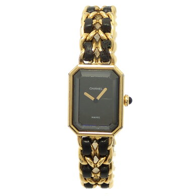 【ウォッチ】CHANELシャネルプルミエールXLサイズブラック文字盤ゴールドメッキGPレディースQZクォーツ腕時計ゴールドH0001【中古】【k】【Blumin楽天市場店】