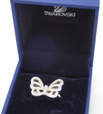【ジュエリー】SWAROVSKIスワロフスキークリスタルパピヨンバタフライ蝶々モチーフリング指輪#5210.5号シルバーメタル【中古】【k】【Blumin楽天市場店】