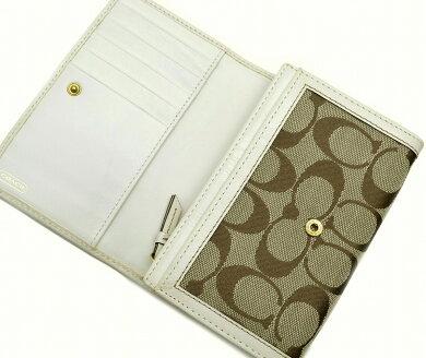 【財布】COACHコーチシグネチャー二つ折り財布財布キャンバスレザーカーキブラウン白ホワイトアイボリー【中古】【k】【Blumin楽天市場店】