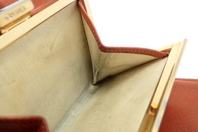 【財布】CHANELシャネルキャビアスキンココマークがま口ガマ口2つ折長財布ブラウン赤茶A01428【中古】【k】【Blumin楽天市場店】