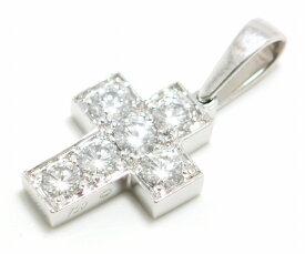 【ジュエリー】Cartier カルティエ クロスモチーフ チャーム SM K18WG ホワイトゴールド ダイヤモンド 6P 6粒 【中古】【u】【質屋出店】