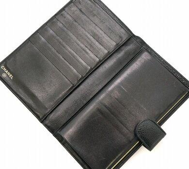 【財布】CHANELシャネルキャビアスキンココマークがま口ガマ口2つ折長財布レザー黒ブラックA13498【中古】【k】【Blumin楽天市場店】