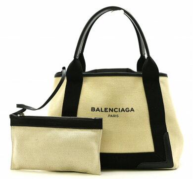 【バッグ】BALENCIAGAバレンシアガネイビーカバストートバッグミニトートキャンバスレザーポーチ付黒ブラックナチュラル339933【中古】【k】【Blumin楽天市場店】