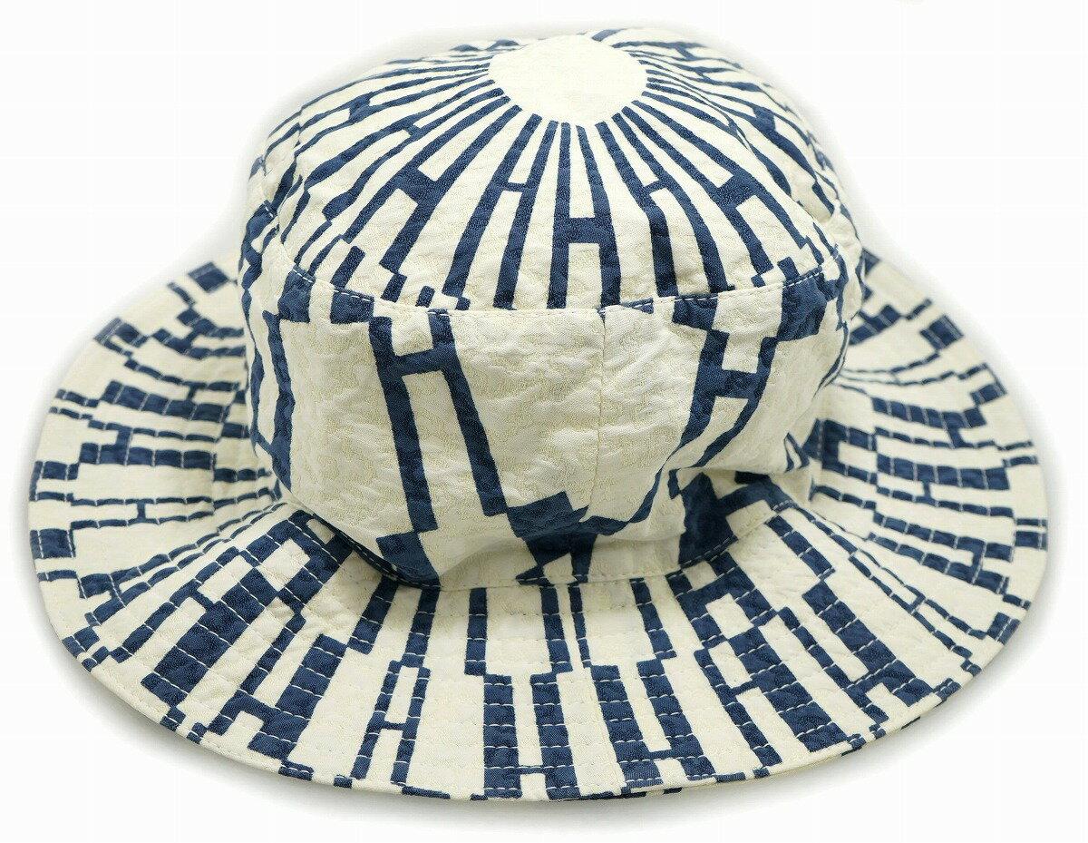 MOTSCH POUR HERMES モッチ プール エルメス 帽子 ハット バケットハット #56 コットン ポリエステル ホワイト ブルー 【中古】【k】【Blumin 楽天市場店】