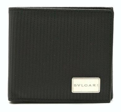 【財布】BVLGARIブルガリミレリゲ2つ折財布PVCレザー黒ブラックシルバー金具25541【中古】【k】【Blumin楽天市場店】
