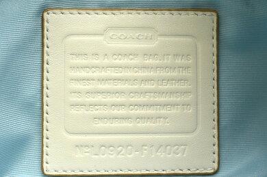 【バッグ】COACHコーチホースアンドキャリッジショルダーバッグ斜め掛けキャンバスレザーライトブルー水色オフホワイトF14037【中古】【k】【Blumin楽天市場店】